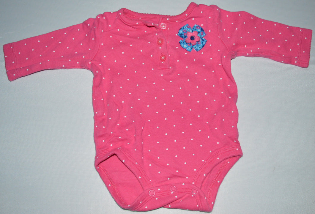 Carter's Pink with White Polka Dots and Blue Flower Long-sleeve Onesie