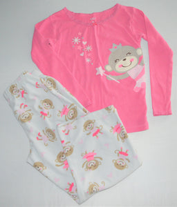 Carter's Pink and White Monkey Ballerina Two-piece Pajamas