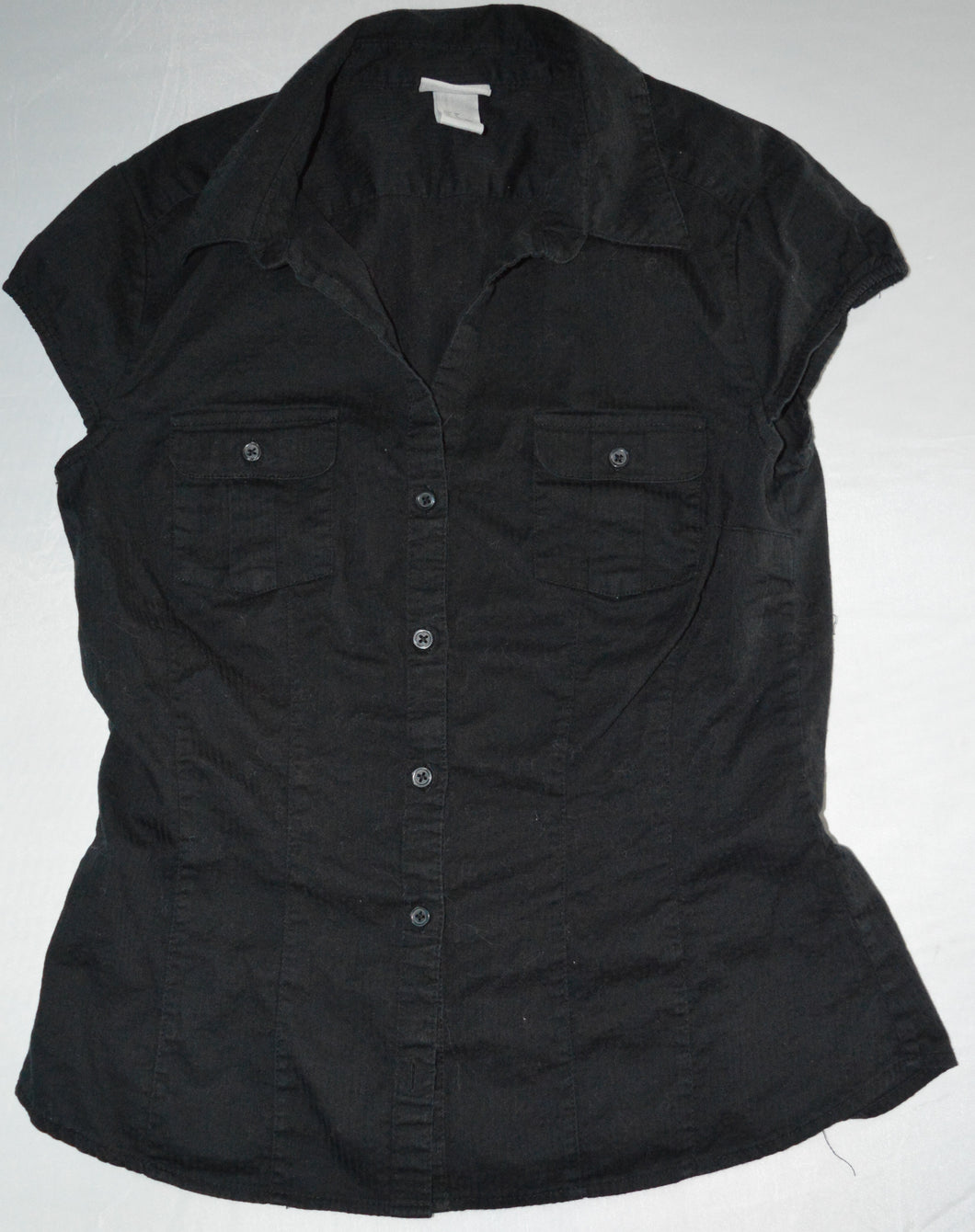H&M Black Button-up T-shirt Blouse