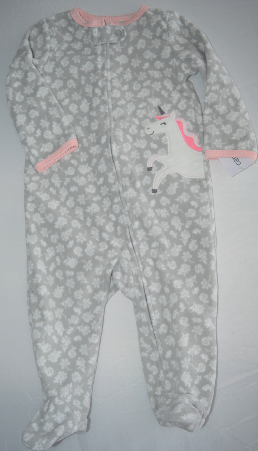 NWT Carter's Grey with White Flowers and Unicorn Fleece Sleeper
