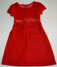 Load image into Gallery viewer, George Red Velour with Sparkly Bow Dress