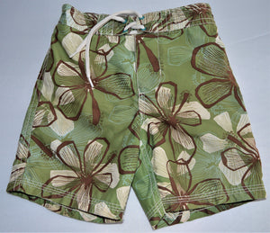 Old Navy Green White and Brown Floral Swim Shorts
