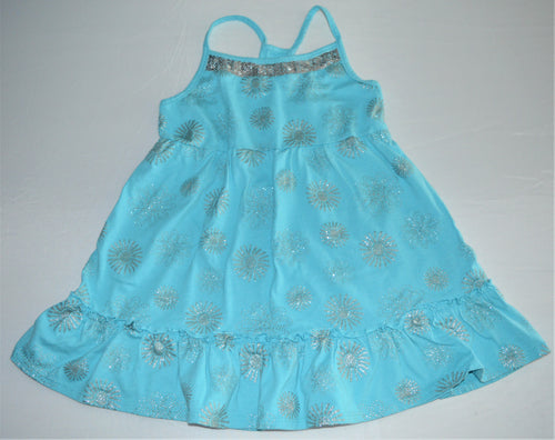George Blue with Silver Sparkle Suns and Flowers Tank Dress