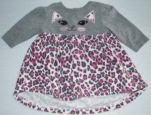 Monkey Bars Grey Cat with Cheetah Print Dress