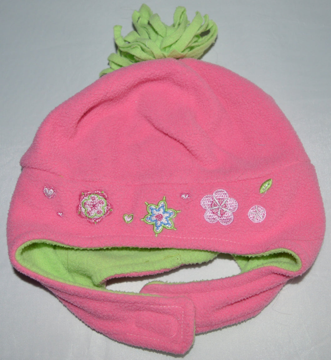 Toby Pink and Green with Flowers and Pom Pom Fleece Hat
