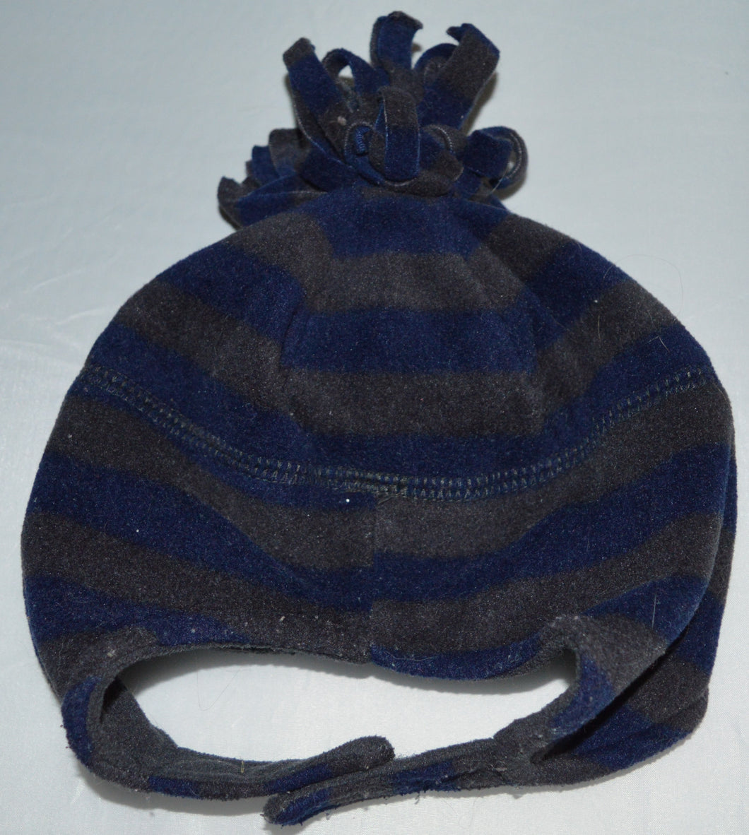 Blue and Grey Stripes with Pom Pom Fleece Hat