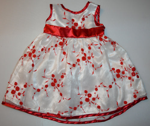 White with Red Flowers and Red Belt Dress