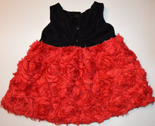 Load image into Gallery viewer, The Children's Place Black Velveteen with Red Rose Skirt and Black Bow Belt Dress