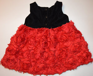The Children's Place Black Velveteen with Red Rose Skirt and Black Bow Belt Dress