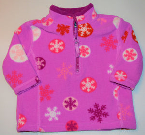 B.U.M. Equipment Purple with Red White Pink and Red Snowflake Fleece 1/4 Zip-up Sweater