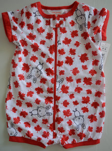 NWT Joe Fresh White with Red Maple Leafs and Bunnies Romper