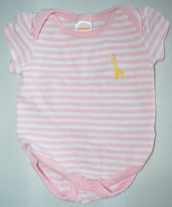 Gymboree White and Pink Stripes with Giraffe Onesie