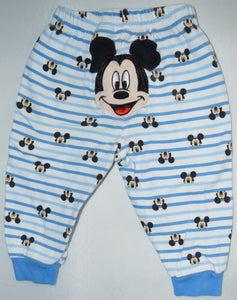 Disney Baby White with Blue Stripes Mickey Mouse Pajama Pants