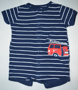 Carter's Blue with White Stripes and Firetruck Romper