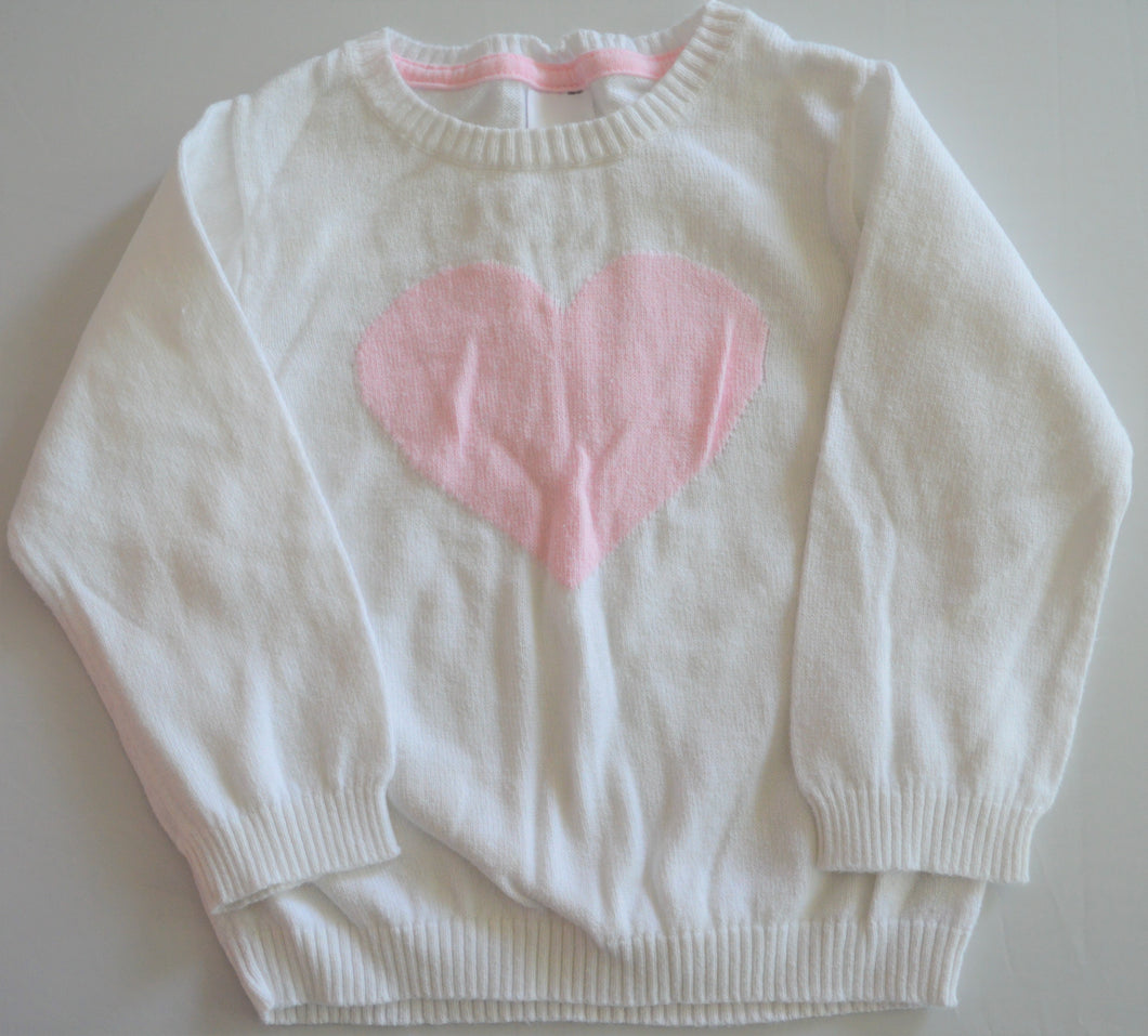 Carter's White with Pink Heart Knit Sweater