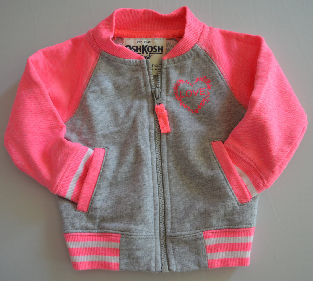 Osh Kosh Grey and Hot Pink Love Letterman Jacket