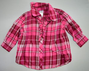 George Pink Plaid 1/4 Button-up Long-sleeve Shirt