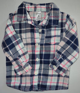 Carter's Blue and Pink Plaid Button-up Long-sleeve Shirt