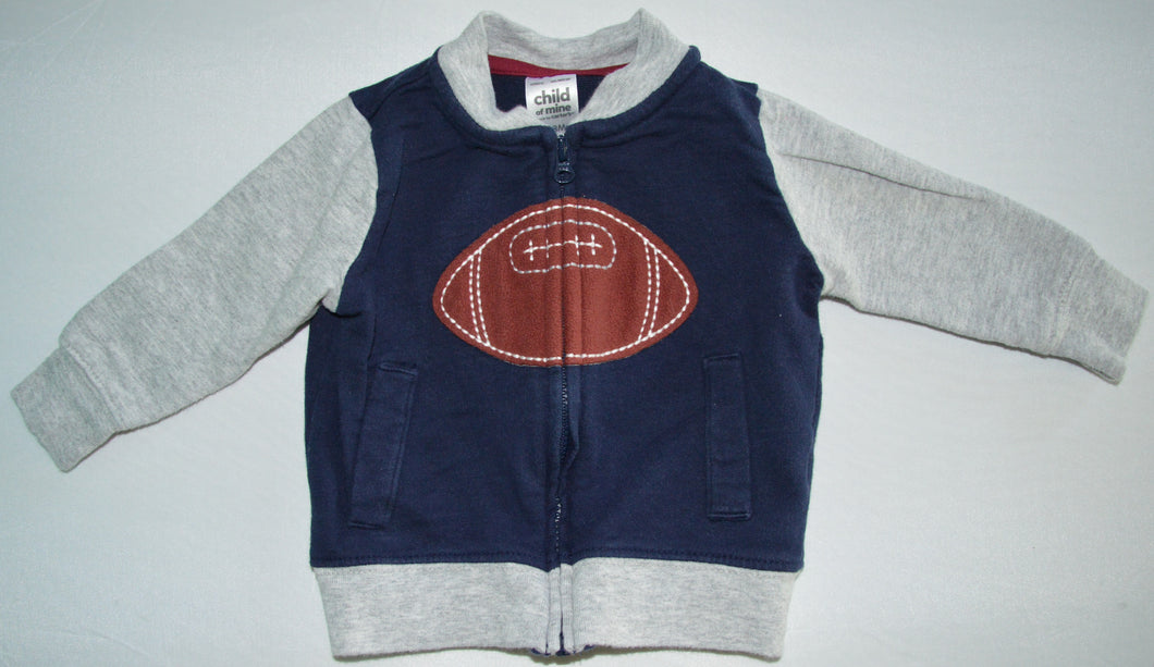 Carter's Navy and Grey Football Zip-up Sweater