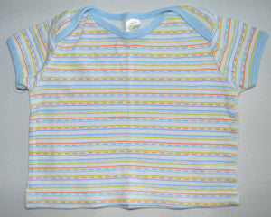 Baby Gear White with Blue Green and Orange Stripes T-shirt
