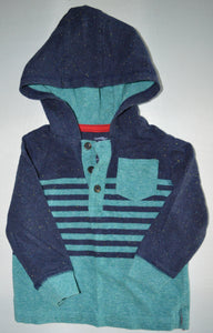 George Blue and Teal Hooded Long-sleeve Shirt
