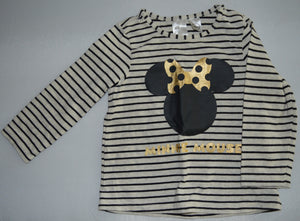 H&M Disney Grey with Black Striped Minnie Mouse Long-sleeve Shirt