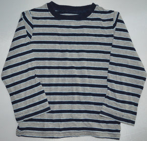 The Children's Place Grey with Navy Stripes Long-sleeve Shirt