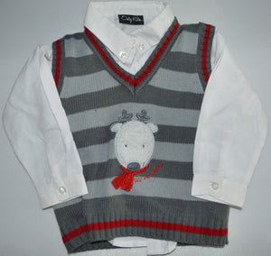 Only Kids White Button-up Long Sleeve Shirt with Grey Reindeer Knit Sweater Vest