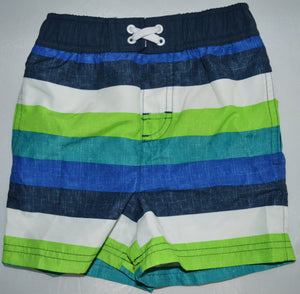 George White Black Blue and Green Striped Swim Shorts
