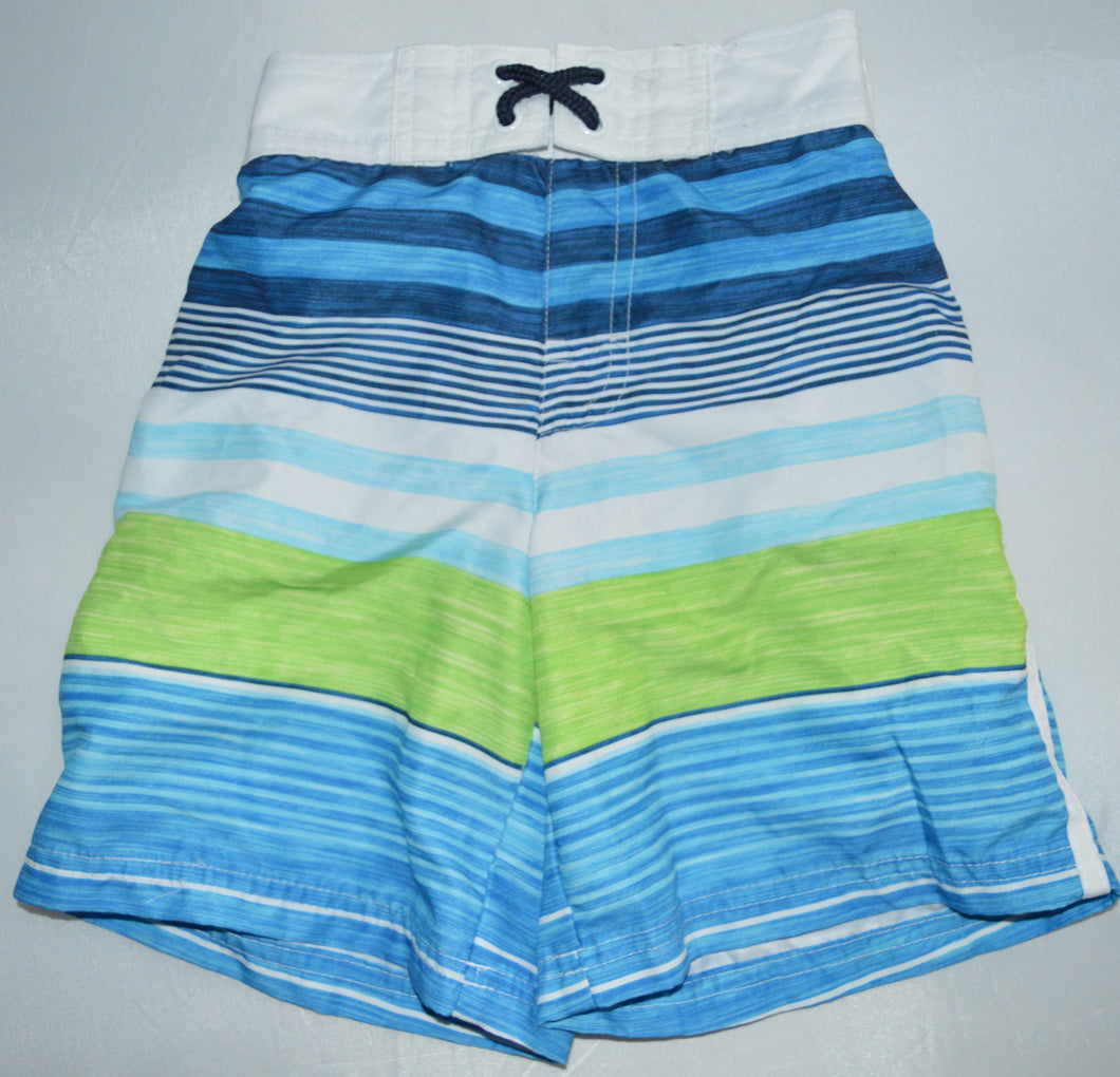 George White Blue and Green Striped Swim Shorts