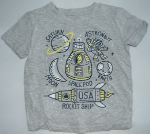 Jumping Beans Grey and Yellow Space Themed T-shirt