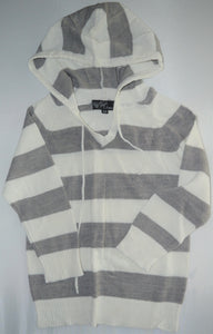 Knit Set Collection White and Grey Striped Hooded Sweater