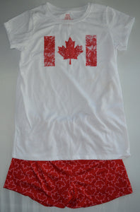 White and Red Canadian Themed T-shirt and Short Pajamas
