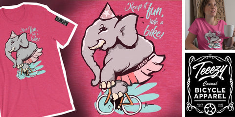 Elephant on a bike - Bicycle T-Shirt - Pink