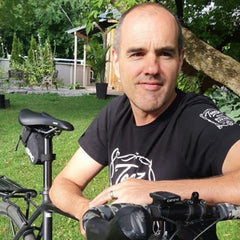 Teeezy store owner Patrice Audet with bicycle t-shirt
