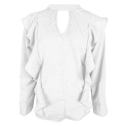 Cut Out Ruffle Blouse