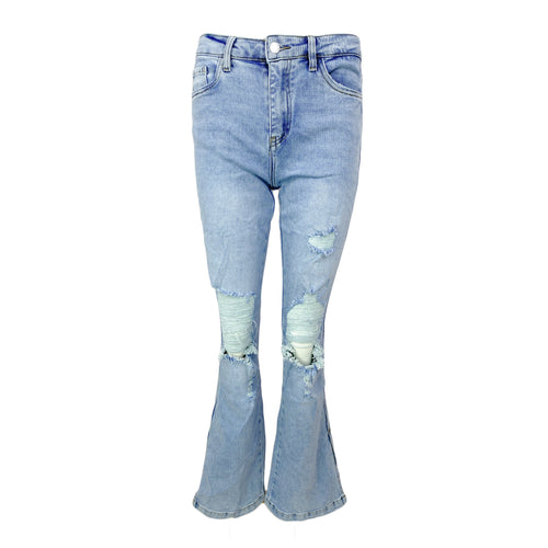 Destroyed Split Flared Jeans