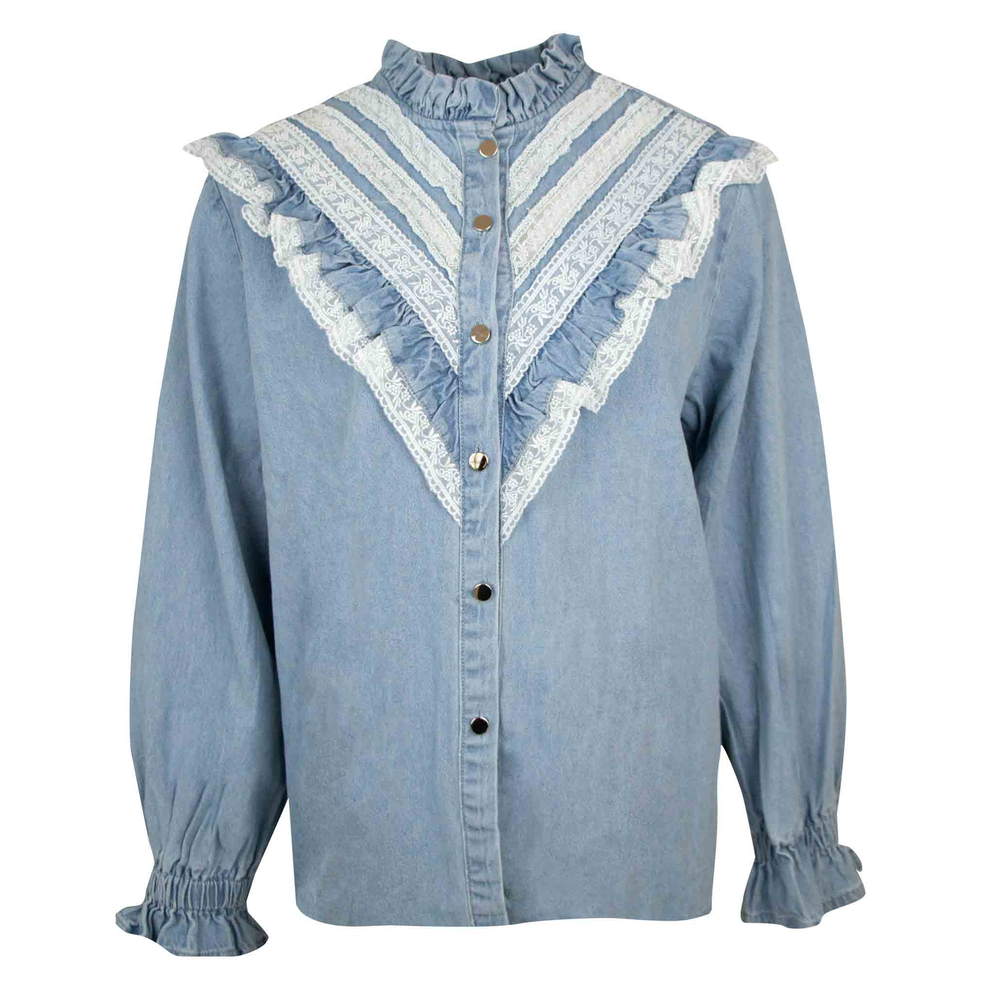 Denim ruffle blouse