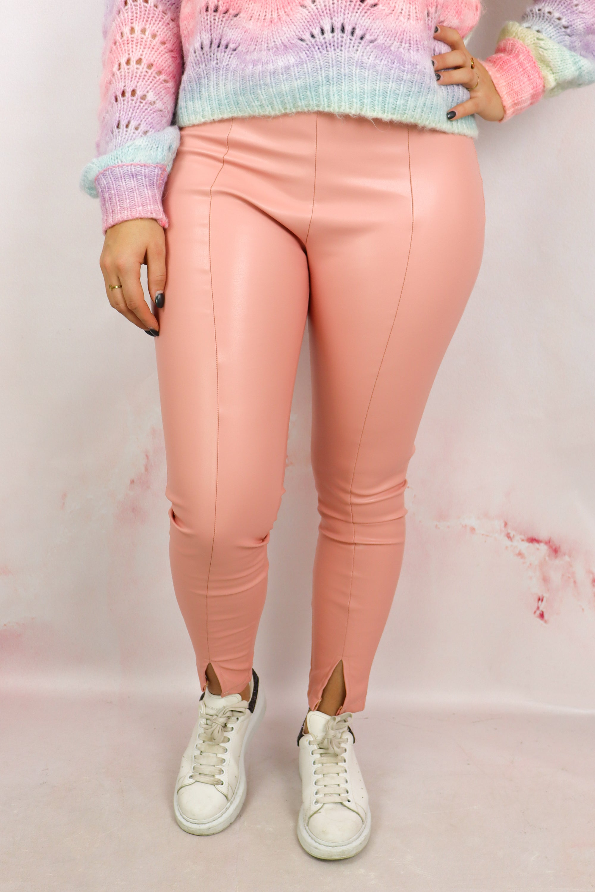 Front Split PU Legging