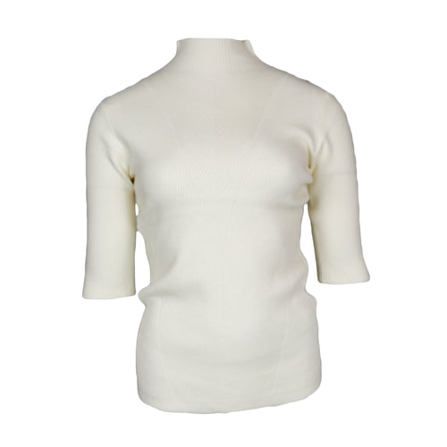 Turtle Neck Rib Top Off White
