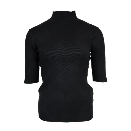 Turtle Neck Rib Top Zwart