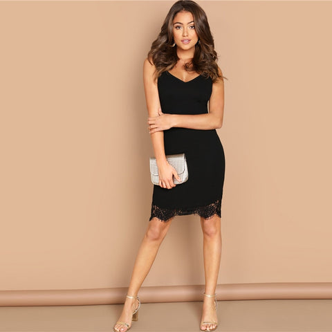 ac5322c29d9 FIAJI SHEIN Going Out Black Contrast Lace Solid Cami Sleeveless V Neck Slim Short  Dress