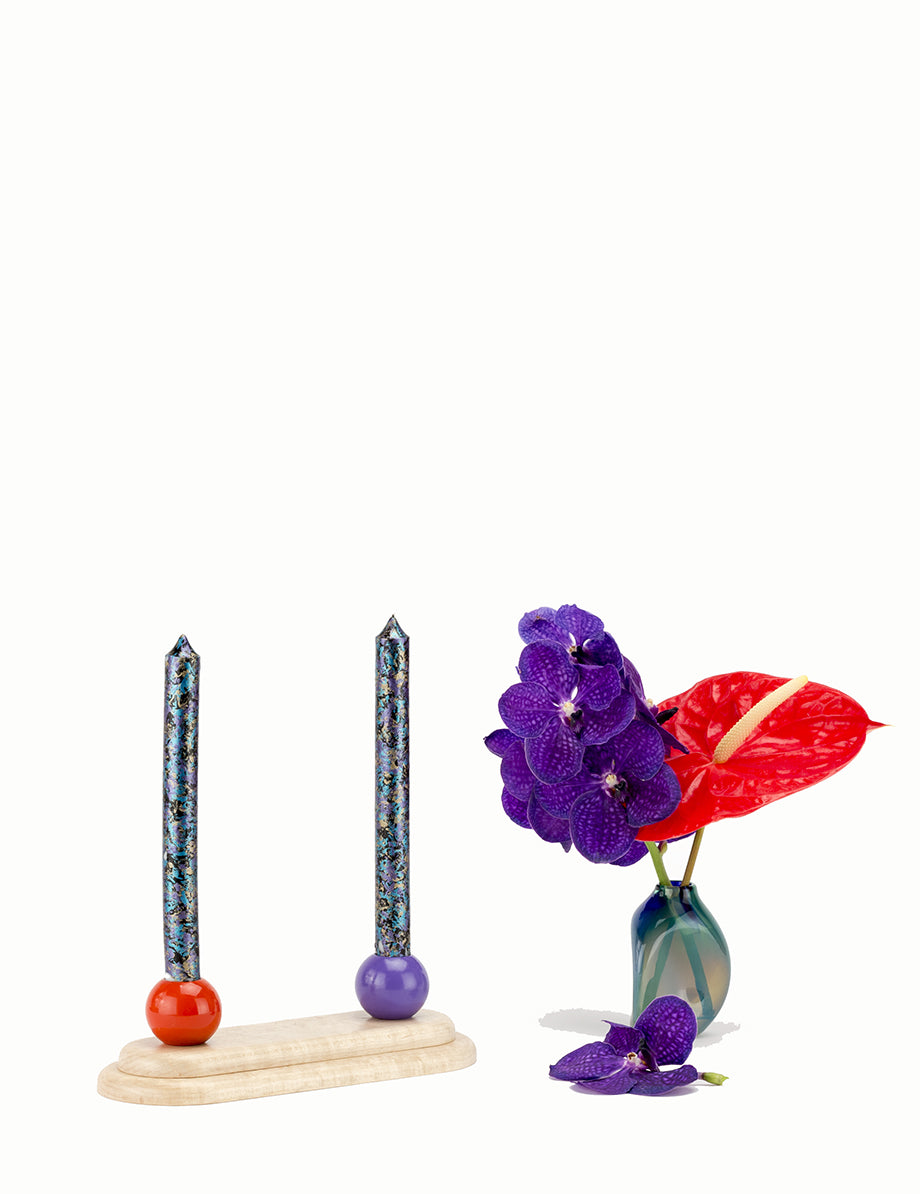 Kassandra Candelabra - Maple/Red/Violet