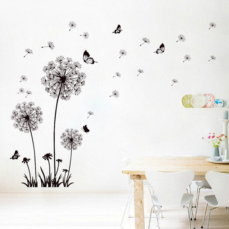 Butterfly flying in dandelion Wall Sticker