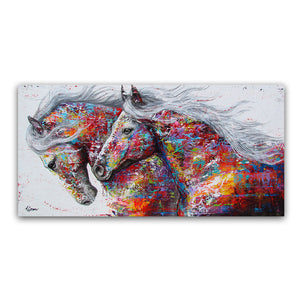 Two Running Horses Canvas Painting Deluxe