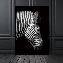 Load image into Gallery viewer, Black and white zebra canvas print