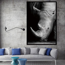 Load image into Gallery viewer, Black and white rhino horn canvas print