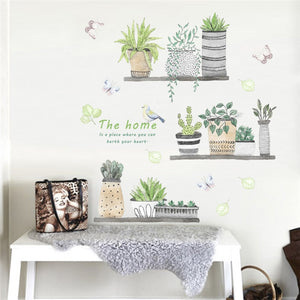 Garden Plant Bonsai Flower Butterfly Wall Sticker