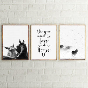 Black and White Horse Nordic Style Canvas Print