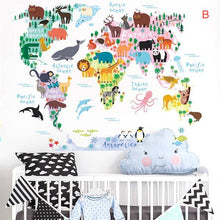 Load image into Gallery viewer, Cartoon animals world map wall sticker